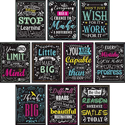 Blulu 10 Stücke Motivierend Klassenzimmer Wand Poster Inspirierende Zitate Positiv Poster für Schüler - Pädagogische Lehrer Klassenzimmer Dekorationen 12 x 16 Zoll Karton mit Klebepunkten