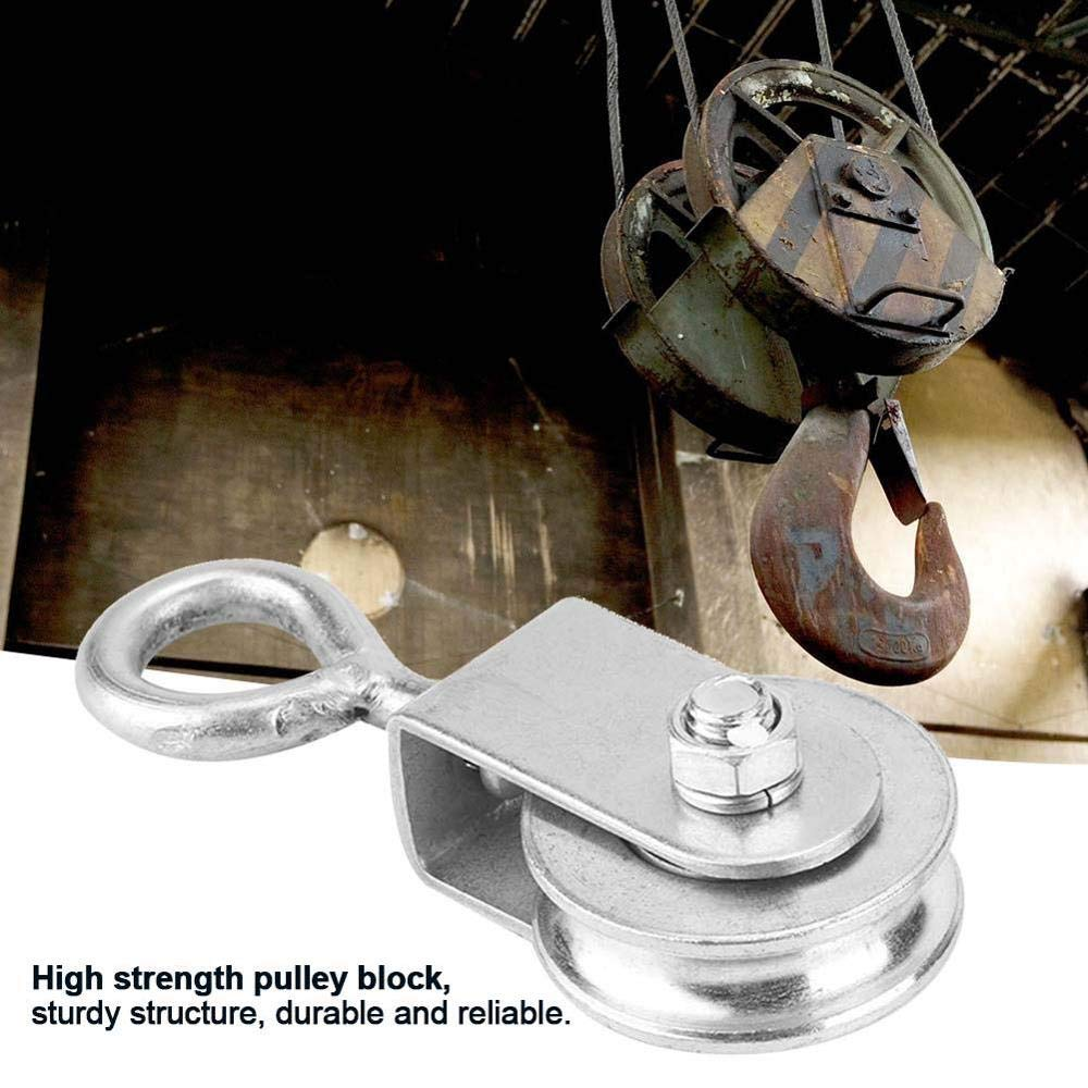 Power tranmistion Stainless Steel 0.3 Tons Pulley Steel Wire Pulley Single Wheel Swivel Lifting Rope Pulley Block for Wire Rope Gravity Skating Width: Type 3