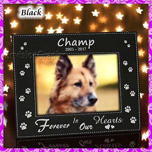Envision Graphx Personalized Custom Engraved Pet Dog Memorial Leatherette Vegan Leather Picture Frame (Black/Silver, 5x7)