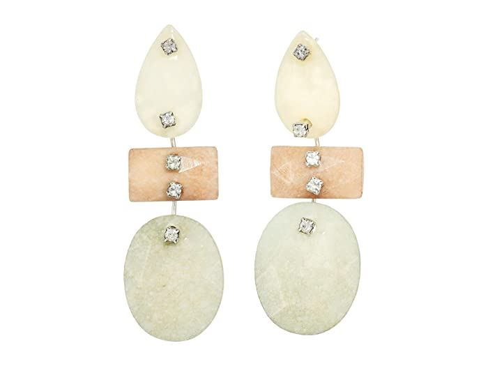 Lucky Brand  Agate Gem Post Earrings (Silver) Earring