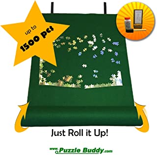 "Puzzle Buddy: Jigsaw Puzzle Roll Up Felt Mat | Securely Store, Transport Unfinished Puzzles, (Includes Box Stand and Glue Kit), Perfect for Grandparents, Grandkids and Puzzle Enthusiasts | Made In the USA - Storage Kit For Puzzles Up To 1500 Pieces, 42"" x 24"""