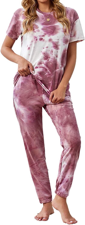 Azokoe Women Tie Dye Printed Pajamas Sleeve Set Te Special Campaign New popularity Crewneck Long