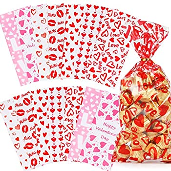 Valentines Day Candy Goody Bags Valentine Goodie Bags for Kids 133 Pcs - Valentines Cellophane Treat Bags Clear Goodie Bags with Ties Cellophane Cookie Bags Valentines Day Gift Bags 7 Designs