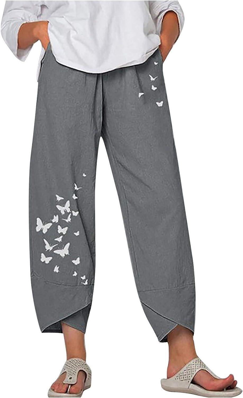 MASZONE Summer Cotton Linen Pants for Women, Women's Pants Print Casual Pants Baggy Harem Pants Sweatpants with Pockets