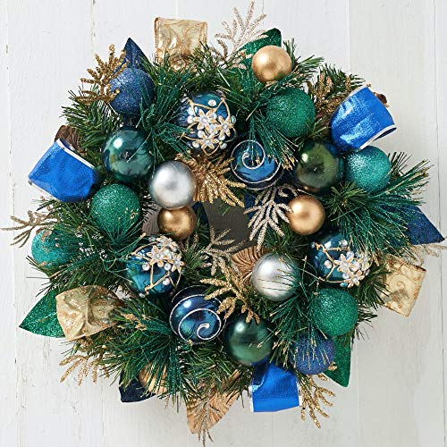 Holiday Tree Christmas Wreath- Blue, Gold and Silver Ornament Wreath - 18 inches Handcrafted - Glittery Jeweled Ornaments, Faux Golden and Greenery Foliage |Indoor & Outdoor Christmas Decoration