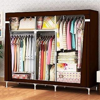 HWG Armoire Penderie Armoire Tissu Portable avec 3 Tringles à Vêtements Et 5 étagères Solide Et Durable pour Chambre à Cou...