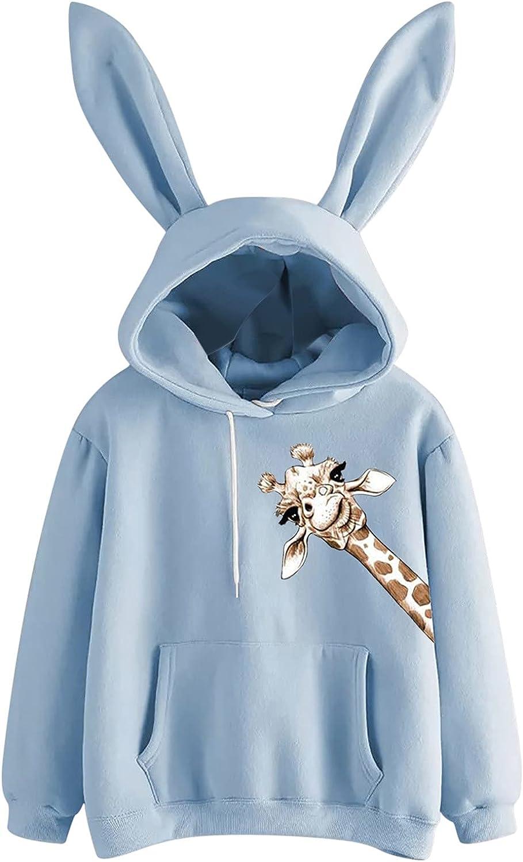 Sweatshirt for Women, wodceeke Womens Cute Rabbit Hoodies Casual Long Sleeve Sweatshirts Solid Pullover Tops Pocket Blouse