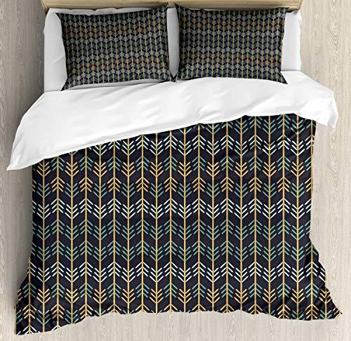 Juego de funda nórdica en espiga, imagen inspirada en la naturaleza con rayas verticales y líneas en zigzag, juego de cama decorativo de 3 piezas con 2 fundas de almohada, azul oscuro gris y multicolo