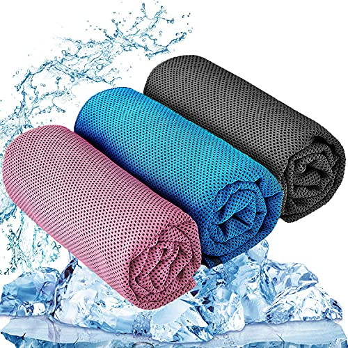 """YQXCC 3 Pcs Cooling Towel (47""""x12"""") Cool Cold Towel for Neck, Microfiber Ice Towel, Soft Breathable Chilly Towel for Yoga, Golf, Gym, Camping, Running, Workout & More Activities"""