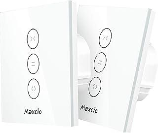 【LED Controlable】 Interruptor Persiana, Maxcio Interruptor Cortina WiFi Compatible con Alexa y Google Home, Control de APP y con Temporizador, para Motor Persiana, Motor de Obturador