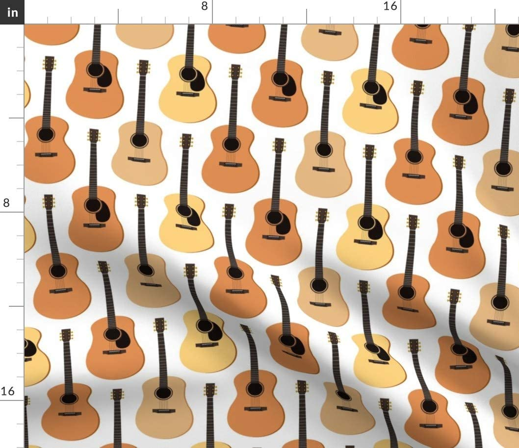 Spoonflower Fabric - Acoustic NEW Max 66% OFF Music Guitars Strings Guitar