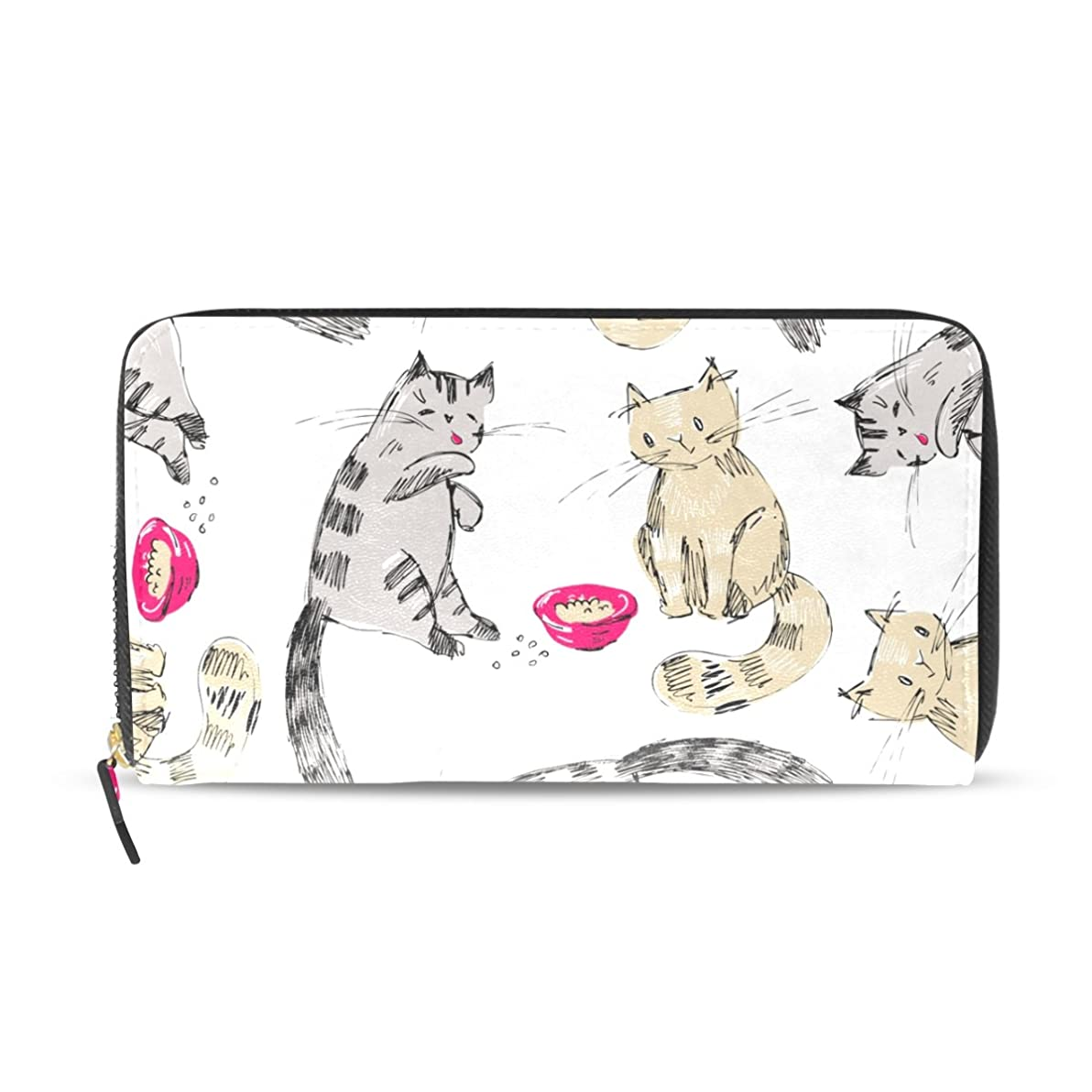 ストレンジャー混乱物理的にAOMOKI 財布 レディース 長財布 大容量 猫柄 カラフル 恋 食べ物 ラブ ラウンドファスナー PUレザー 幅20*丈11cm