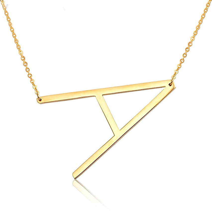 HOUBL Fashion 26 Letter Necklaces Pendants Alphabet 3 Color Stainless Steel Choker Initial Necklace Women Girl Jewelry SP-102