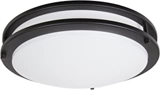 """Maxxima 14"""" Black LED Ceiling Mount Light Fixture - Warm White, 1650 Lumens Dimmable, 3000K"""