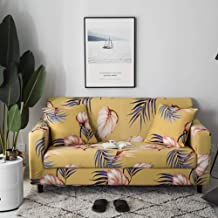 Umineux Printed Sofa Cover High Stretch Sofa Slipcovers Couch All Cover Furniture Protector for 3 Cushion Couch with Two Pillow Covers (Sofa-3 Seater, Banana Leaves)