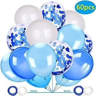 Globos Azules,Globos Blancos,60 Piezas Helio Globos Latex Decoraciones y Accesorios Bodas Aniversario Graduacion Fiesta Decoracion
