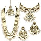 Aheli Parure de bijoux traditionnels pour femme avec collier ras du cou et boucles d'oreilles avec Maang Tikka, Adjustable, AH-PF25BR106W
