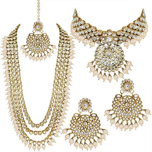 Aheli Indian Wedding Kundan Beaded Heavy Bridal Long Choker Necklace Earrings with Maang Tikka Traditional Jewellery Set for Women (White)