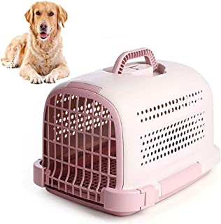 FXQIN Airline Approved Pet Carrier, Dog Crate with Door, Ergonomic Handle, Outdoor Kennel Car Travel Box for Small Animals, Pink