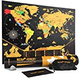 NEWVEREST Scratch Off Map of the World, Detailed Travel Art Poster, Fits 24 x 17 inches Frame, Comes with Scratch Tool, 20 Push Pins, 4 Stickers, Cleaning Cloth, Carry Bag + Gift Tube