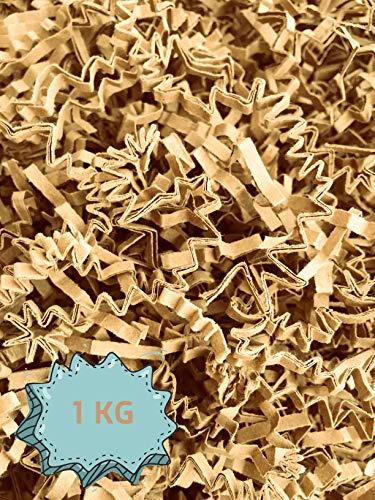 Wiits Natura | Papel Triturado Arrugado para Relleno y Decoración de Cajas | Color Kraft | 1 Kilogramo | Biodegradable y Compostable | Libre de Plástico