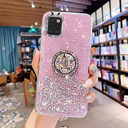 Kompatibel mit Samsung Galaxy Note 10 Lite Hülle mit Diamant Ring Ständer,Handyhülle Galaxy Note 10 Lite Glänzend Bling Glitzer Stern Transparent Silikon Hülle TPU Schutzhülle Case Tasche,Rosa
