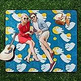 Manta de Picnic Acrílico Impermeable | Alfombra para Acampar al Aire Libre | Colchón para Parque Jardín Portátil con Asa |Suave Alfombra de Juegos para bebés - Lotus Leaf,Blue-300 * 300cm