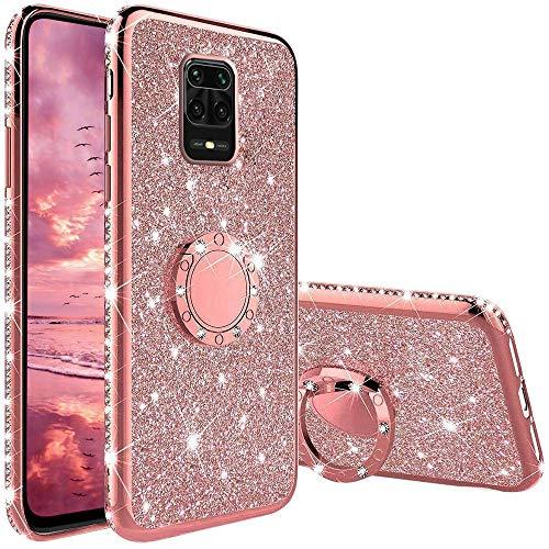 XTCASE Funda para Xiaomi Redmi Note 9S / Note 9 Pro Glitter, Diamante Brillo Carcasa 360 Grados Soporte Anillo Giratorio Resistente de Gel Silicona TPU Anti-Rasguños Bling Cover - Rosa