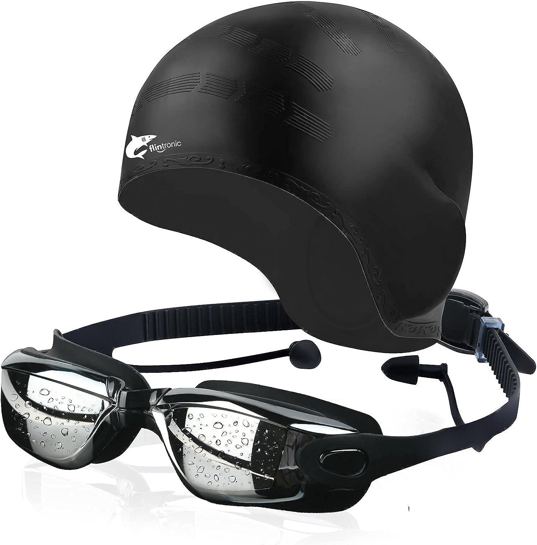 flintronic Gafas de natación, gafas de natación antivaho sin fugas, gafas de natación para adultos con protección UV de visión clara para hombres y mujeres