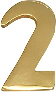 ADDRESSES OF DISTINCTION Brass Mailbox Numbers – Self Adhesive Street Numbers – Williamsburg Font – Won't Tarnish – Weather Resistant – Numbering for Address Plaque, Home, Door, Business (#2)