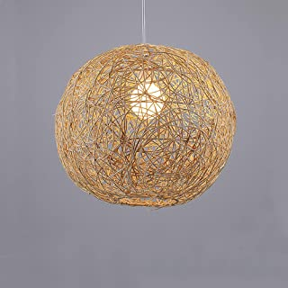 Boule chanvre créative rotin plafonniers lampes suspendues bambou fait osier rotin abat-jour pendentif lumière ins personn...