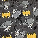 Kt KILOtela Tela por Metros de loneta Estampada Digital - Half Panamá 100% algodón - Ancho 140 cm - Largo a elección de 50 en 50 cm   Comic Batman - Gris, Amarillo