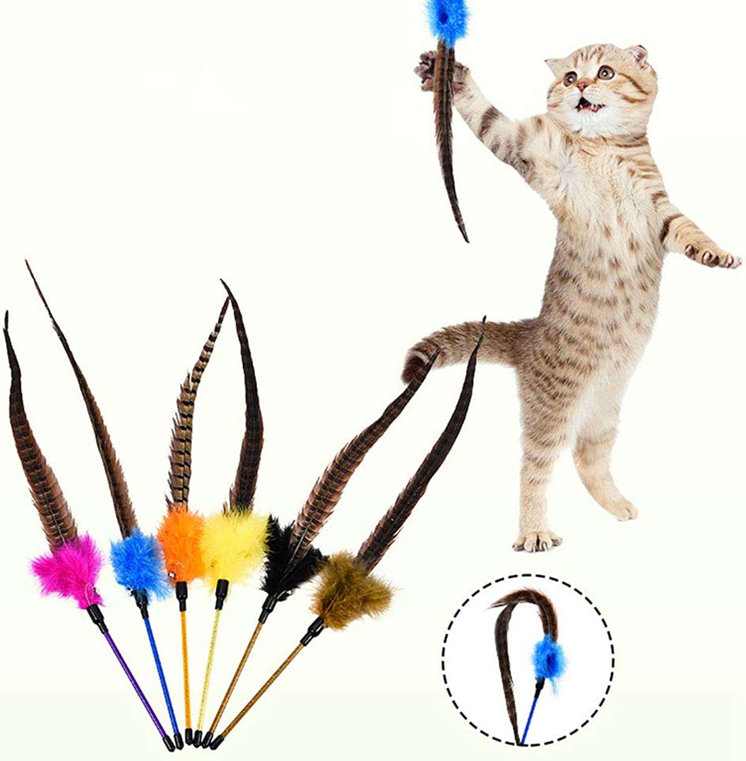 FELICIPP Pet Cat Toy Cat Cat With Bells Cat Toy Funny Cat With Feathers (color   6 colors)