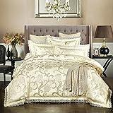 Beddingleer Bettwäsche 220 x 240 cm Weiß 4-tlg Luxus Weiche Bettbezug Sets Satin Jacquard Paisley gehören 1 Bettbezug+1 Bettlaken+2 Kissenbezüge