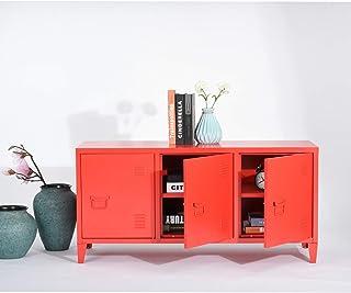 House in Box.COM - Armario de almacenamiento de metal industrial para salón o TV (120 cm 3 puertas) color rojo