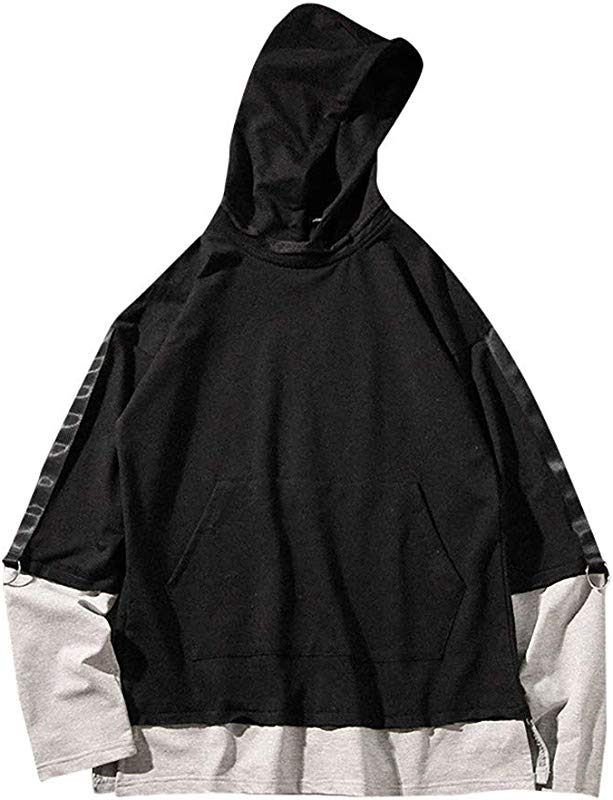 AcisuHu Hot Men Jacket Pullover Hoodie Unisex Teen Splice Fashion Print Hoodie Sweatshirt With Drawstring Hooded