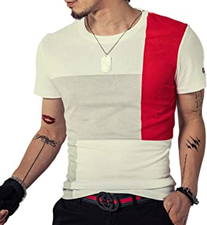 LOGEEYAR Men's Fashion Casual Cotton T-Shirts Contrast Color Short Sleeve Tee Shirts for Boy