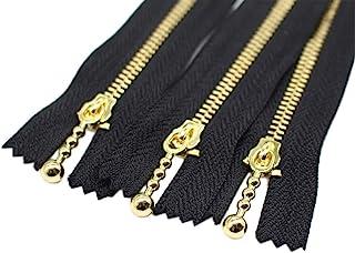 YaHoGa #3 Zíperes de metal dourado com zíperes de extremidade fechada e zíperes dourados para bolsas de costura Jaquetas d...