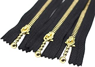 YaHoGa 10PCS 10 Inch #3 Gold Metal Zippers Close End Golden Metal Zippers for Sewing Purse Bags Crafts Jackets Dresses Coats (Gold 10