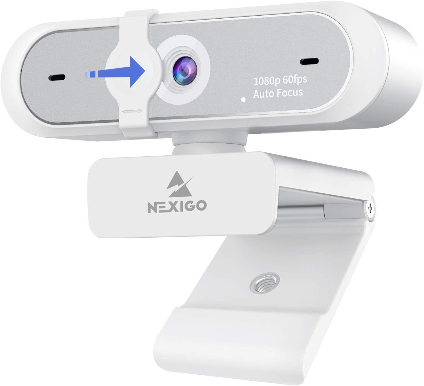 60FPS AutoFocus 1080P Webcam with Software Control, Dual Microphone & Cover, 2021 NexiGo N660P Pro HD USB Computer Web Camera, for OBS Zoom Skype FaceTime Teams, White