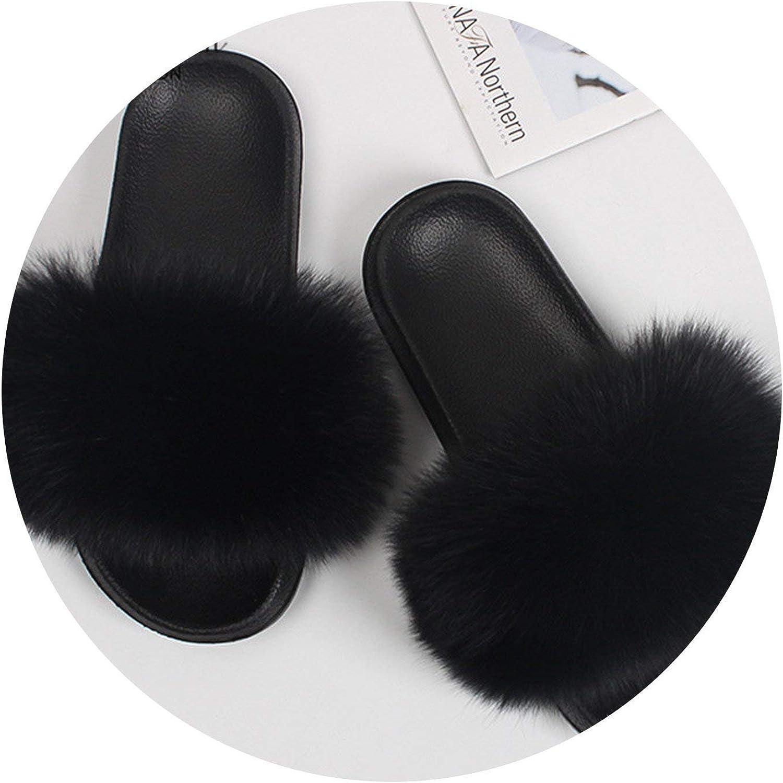 Fox Fur Slippers Woman Summer Non Slip Fur Hair Shoes Sandals,Black Fox