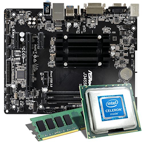 Intel Celeron J3455 / ASRock J3455M Mainboard Bundle / 4GB | CSL PC Aufrüstkit | Intel Quad-Core J3455 4X 2300 MHz, 8GB RAM, Intel HD Graphics, GigLAN, 5.1 Sound, USB 3.1 | Aufrüstset | PC Tuning Kit