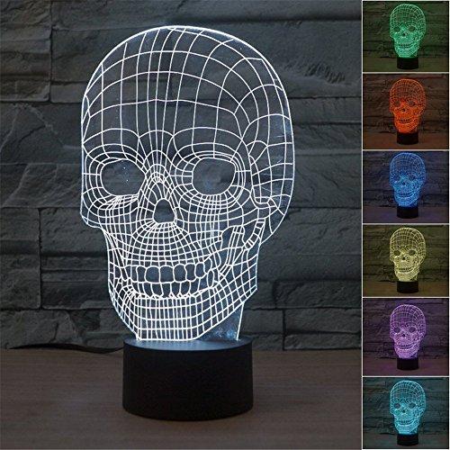 Scary Skull 3D Illusion Lampes de Bureau 7 Couleurs Clignotant USB Câble Interrupteur Tactile Led Nightlights pour la Décoration de La Maison Garçon Cadeaux
