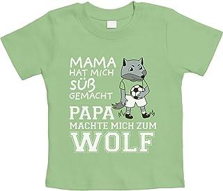 Mama machte Mich süß Papa machte Mich zum Wolf Unisex Baby T-Shirt Gr. 66-93