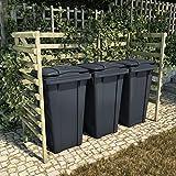 Famehours Cubo de basura triple verde 210x80x150 cm pinos...