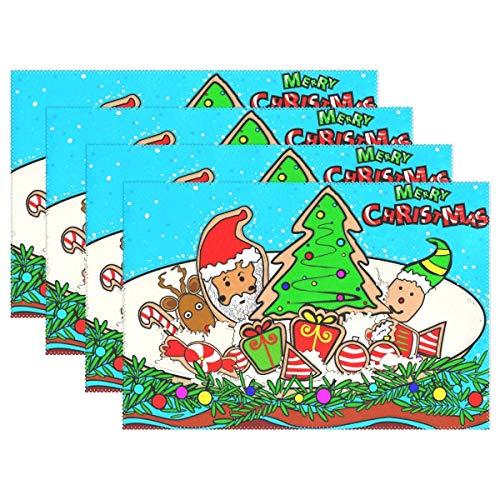 Feliz Navidad Santa Feliz Año Nuevo Mantel individual Mantel individual de decoración de escritorio Juego de 6 antideslizantes resistentes al calor