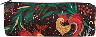 ALAZA Rooster Floral Cylinder Pencil Case Holder Zipper Large Capacity Pen Bag Pouch Students Stationery Cosmetic Makeup Bag