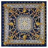 Nueva bufanda de seda Palm Iron Tree Print 130cm Twill Silk Square Bufanda Bufanda de chal para mujer
