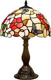 Tiffany Lamp Pink Stained Glass Style Butterfly Shade Table Reading Night Light W12H18 Inch S275 WERFACTORY LAMPS Antique ...