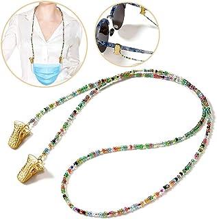 Awanka cadena para mujer Collar de perlas para gafas de sol con cuentas doradas